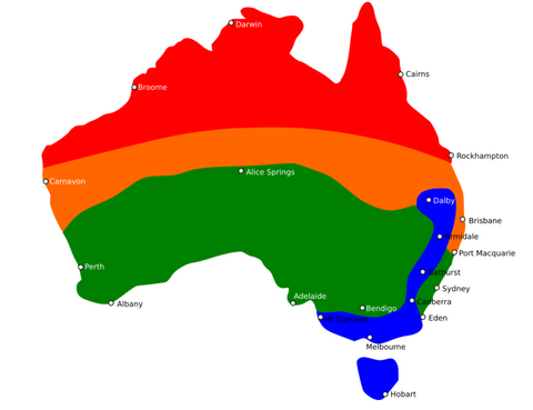 Seed sowing regions australia climates