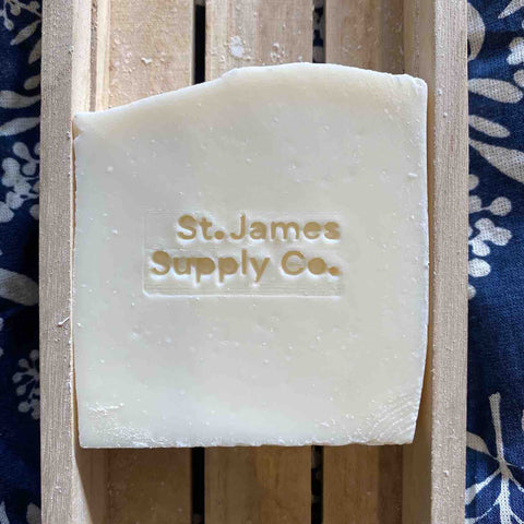 St James Supply Co everyday soap in a wooden soap dish