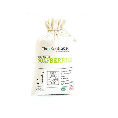 Organic soap berries in a cotton bag