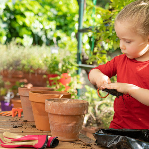Child helping to plant seeds in garden