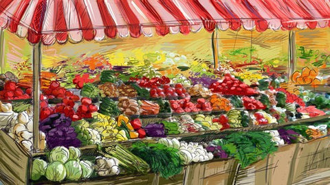 Painting of fruit and veg market stall
