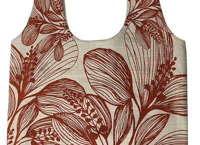 Slub Cotton Shopper - Botanical Screen Printed - Wide Shoulder Strap Turmeric Foliage