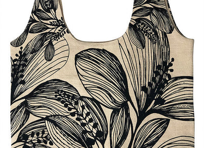 Slub Cotton Shopper - Botanical Screen Printed - Wide Shoulder Strap Charcoal Foliage