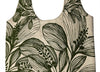 Slub Cotton Shopper - Botanical Screen Printed - Wide Shoulder Strap Olive Foliage