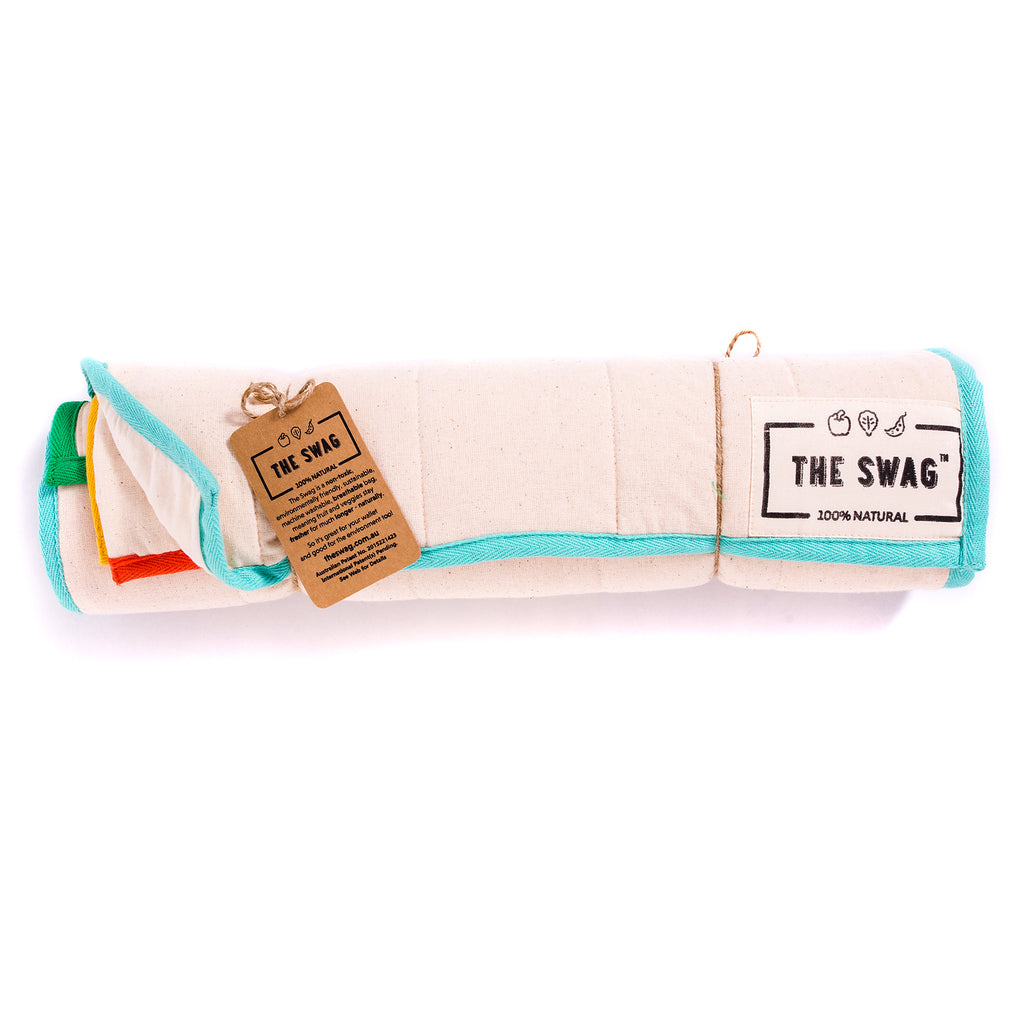 A Rolled Produce Storage Bag Starter Pack from The Swag, with Aqua Trim