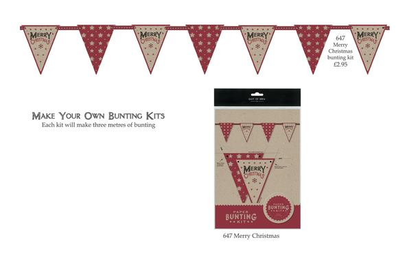 Paper and Cotton Bunting Kit - Merry Christmas