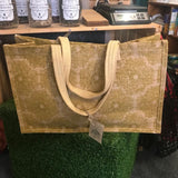 Large Shopping Bag - Natural Jute Fibre - Lace Olive