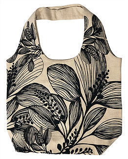 Slub Cotton Shopper - Botanical Screen Printed - Wide Shoulder Strap