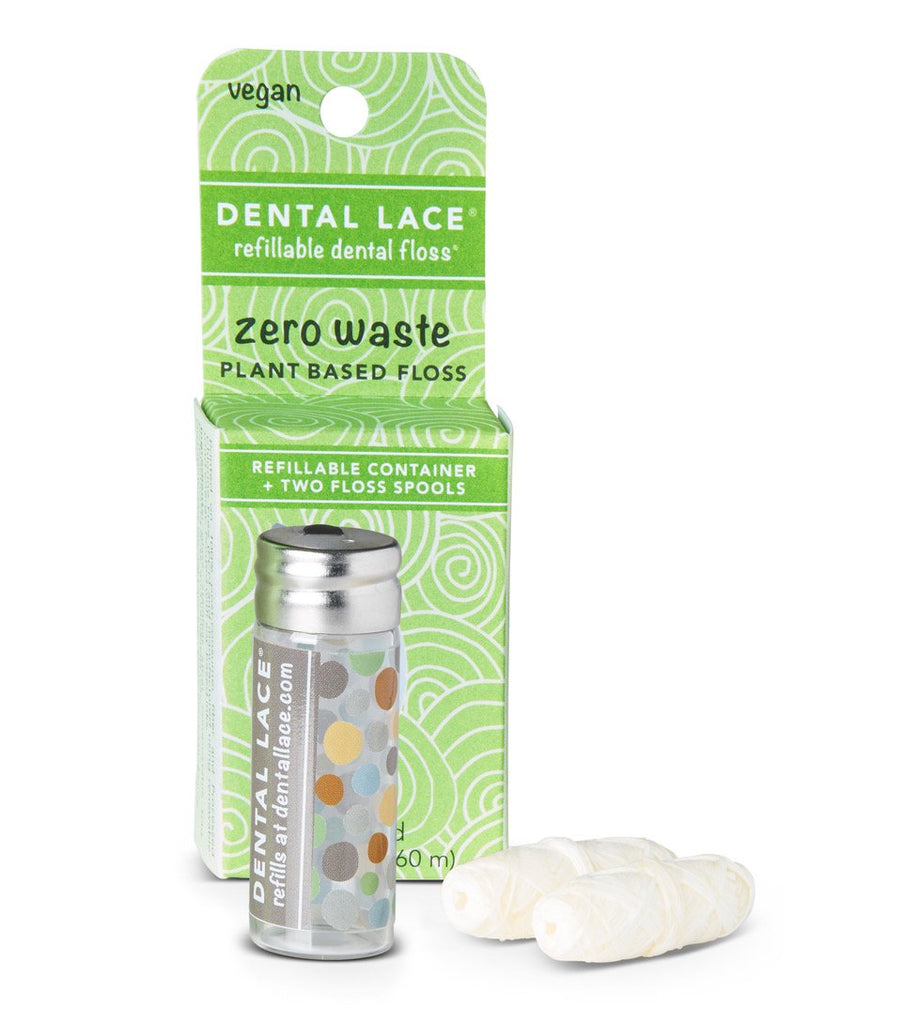 A Refillable Cannister and Two Refill Spools of Dental Lace Plant Based Vegan Friendly Dental Floss, with Packaging