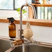Hand-Rolled Cooks Soap in Hemp Saver Bag, from Eco Max, Hanging on a Kitchen Tap