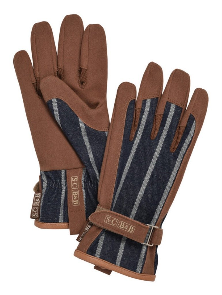 Pair of Everyday Gloves Ticking with Sophie Conran and Burgon & Ball Logos Etched on Leather Straps