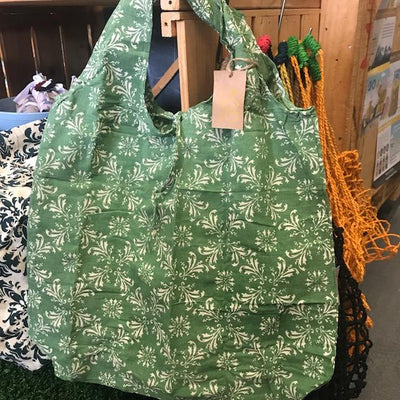 Hampi Shopping Bags - 100% Cotton Screen-Printed Machine Washable Green Ivy