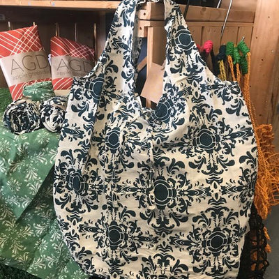 Hampi Shopping Bags - 100% Cotton Screen-Printed Machine Washable Teal Baroque