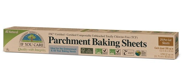 If You Care Parchment Baking Paper Sheets, 12 x 24 sheets. Compostable and biodegradable.