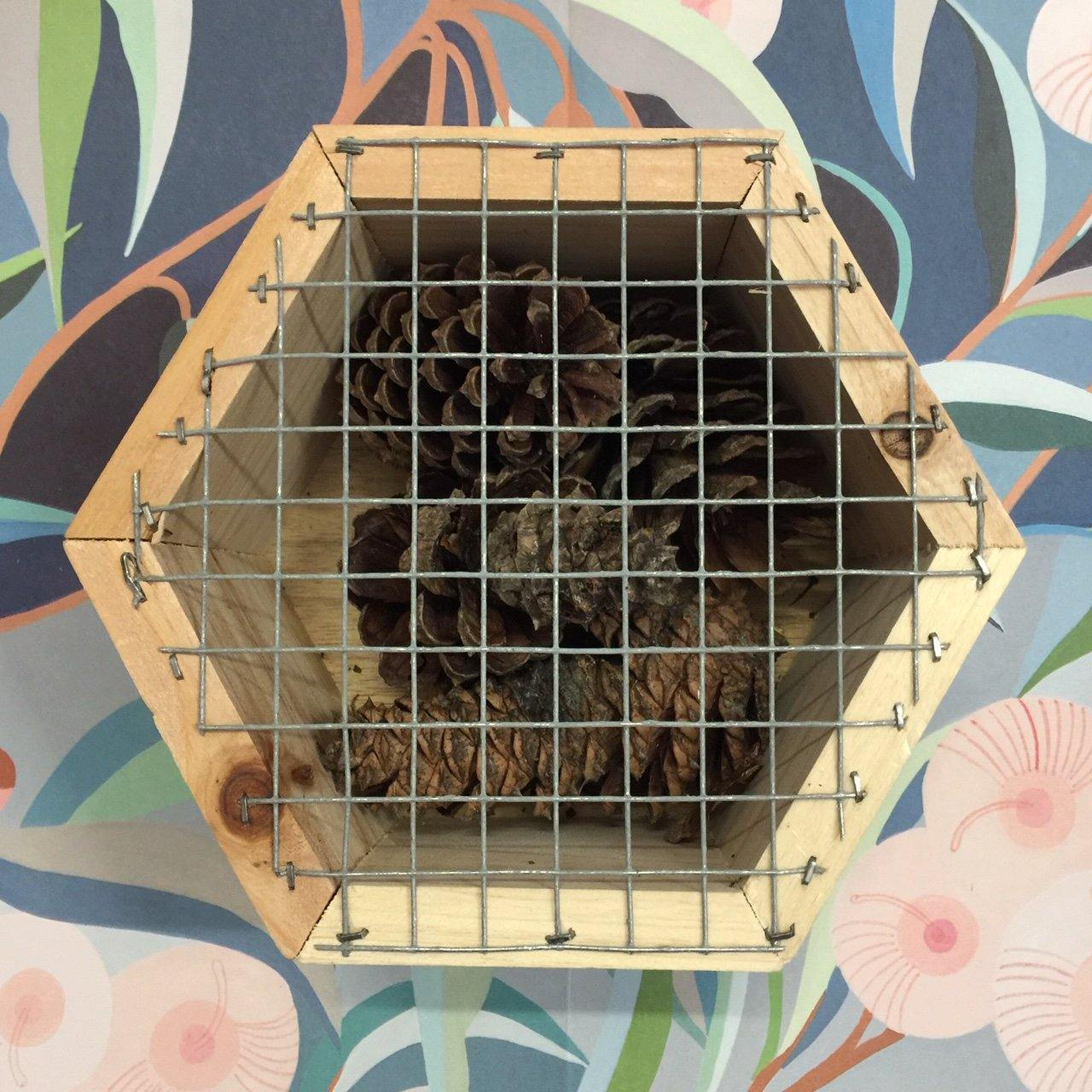 Hexagonal Insect Hotel with Pinecones - Front view