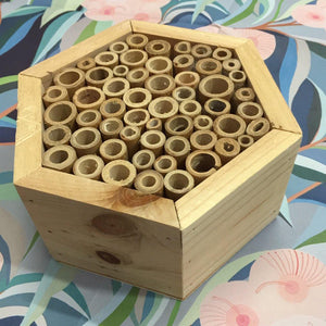 Hexagonal Insect Hotel with Bamboo Tubes