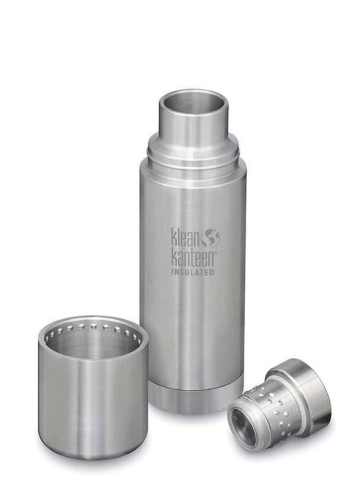 Klean Kanteen TKPro Insulated 500ml Bottle in Brushed Stainless, showing Bottle, Cap & Cup Separately