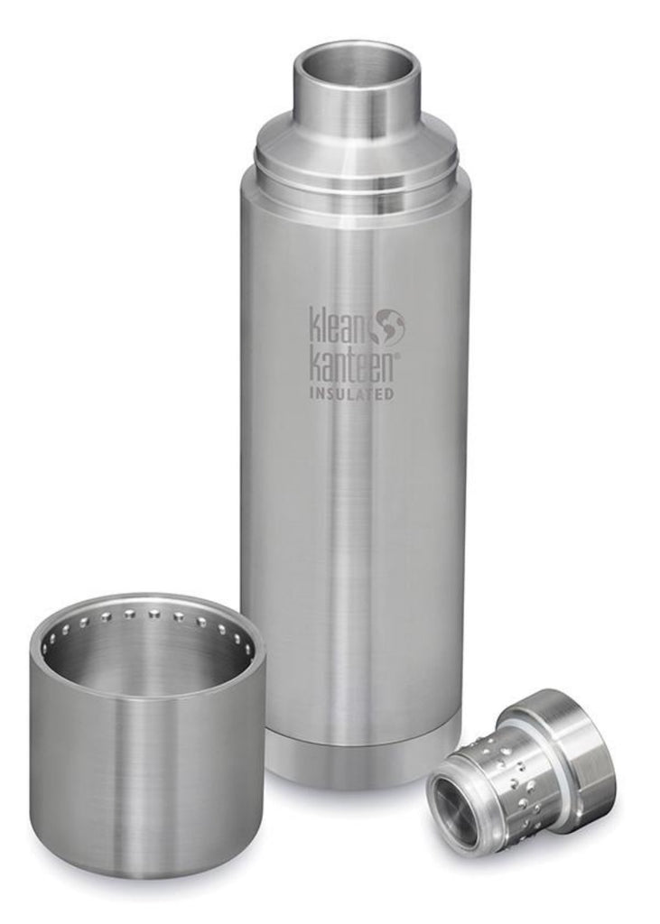 Klean Kanteen TKPro Insulated 1 litre Bottle in Brushed Stainless, showing Bottle, Cap & Cup Separately