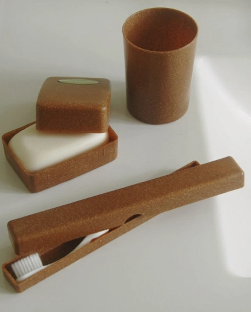 Liquid Wood Eco Travel Set with Toothbrush Holder, Rinse Cup and Soap Container