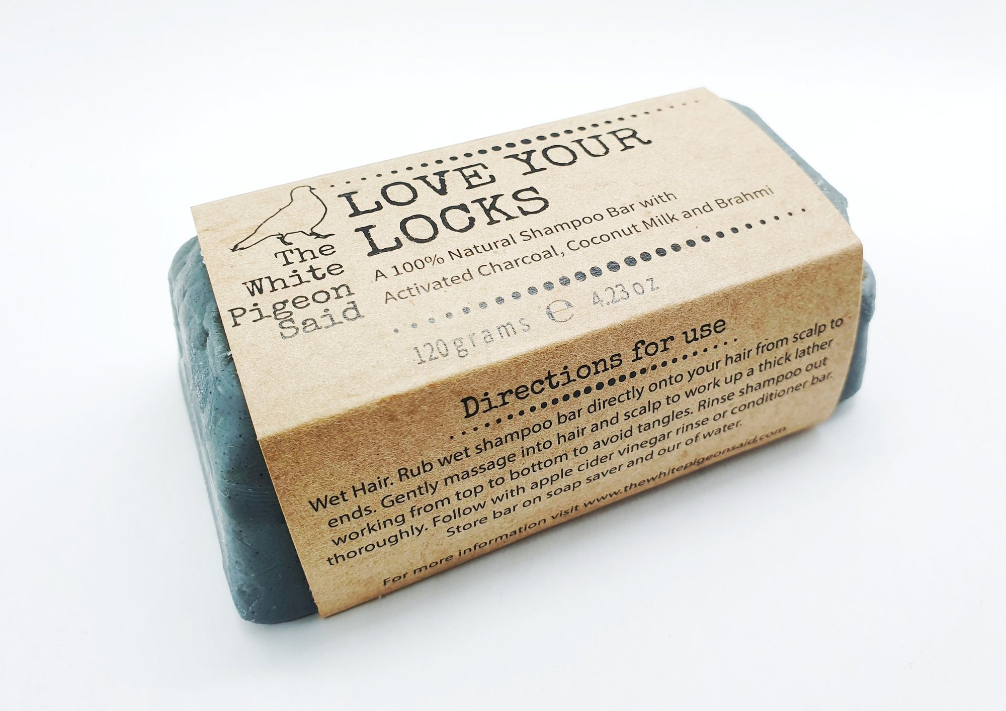 Love Your Locks Charcoal, Coconut Milk and Brahmi Shampoo Bar, 120g