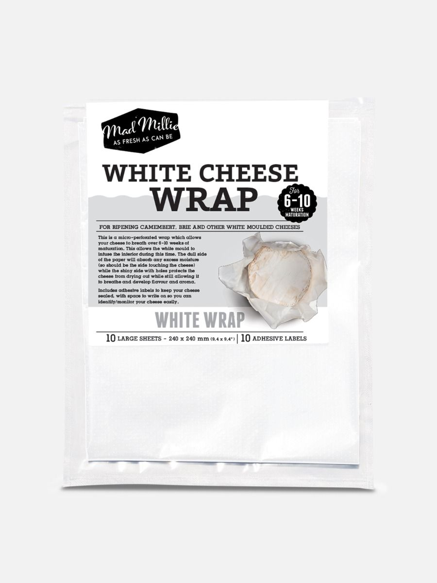 Mad Millie White Cheese Wrap, for Brie, Camembert & more (10 Sheets)