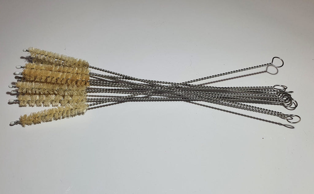 A Bundle of Straw Cleaning Brushes with Hemp Sisal Bristles, from MiEco
