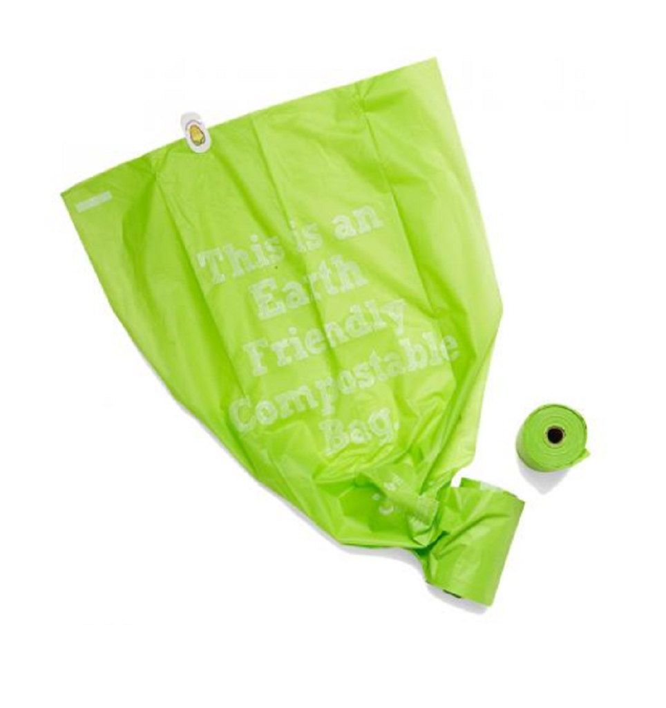 Two Rolls of Onya Dog Waste Disposal Bags, with a Single Bag Unfurled.
