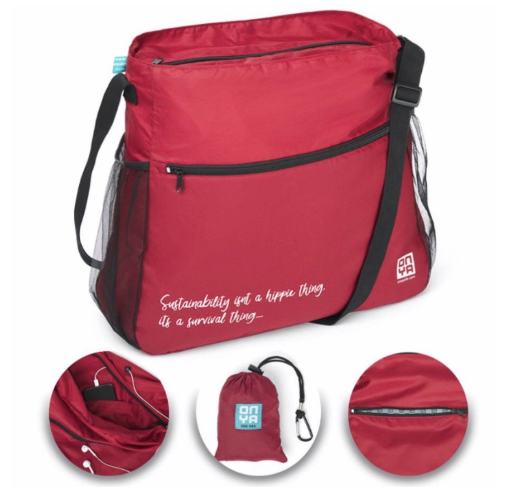 Onya Side Saddle Bag - Chilli Red Quote