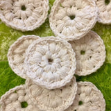 Handmade Crochet Organic Cotton Face Rounds. Colour white.
