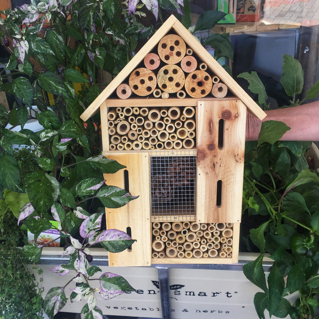 Large Insect Hotel with gabled roof and a mix of bamboo, pine cones and wood with drilled holes and safe spaces for winged insects like butterflies to shelter from the wind