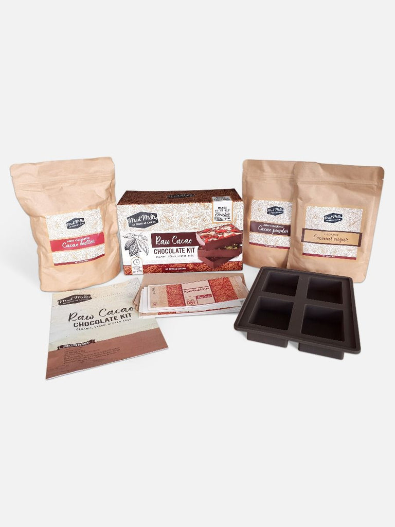 Contents of the Raw Cacao Chocolate Kit, from Mad Millie