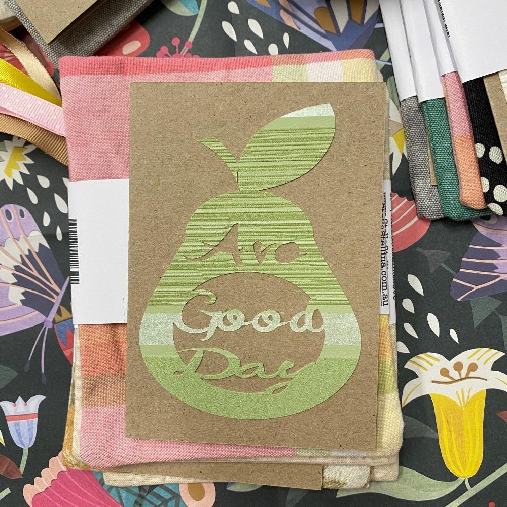 Reusable Greeting Card (Avo Good Day Design) and Envelope, from Stella Stellina