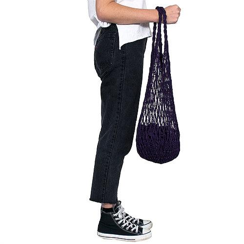 Hand-Tied String Shopping Bags - 100% Cotton Plum