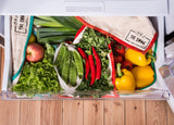 A Crisper Drawer Full of Fresh Produce Stored in The Swag Produce Storage Bags