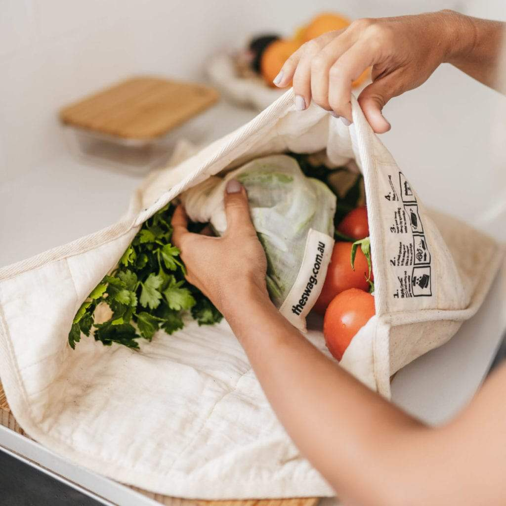 A Produce Storage Bag by The Swag, with Fresh Produce