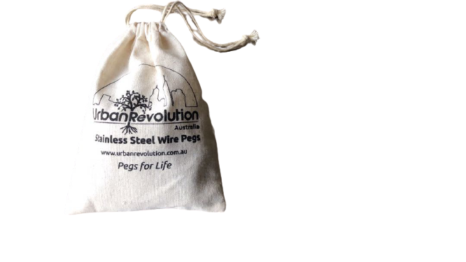 A Bag of Urban Revolution's Stainless Steel Pegs