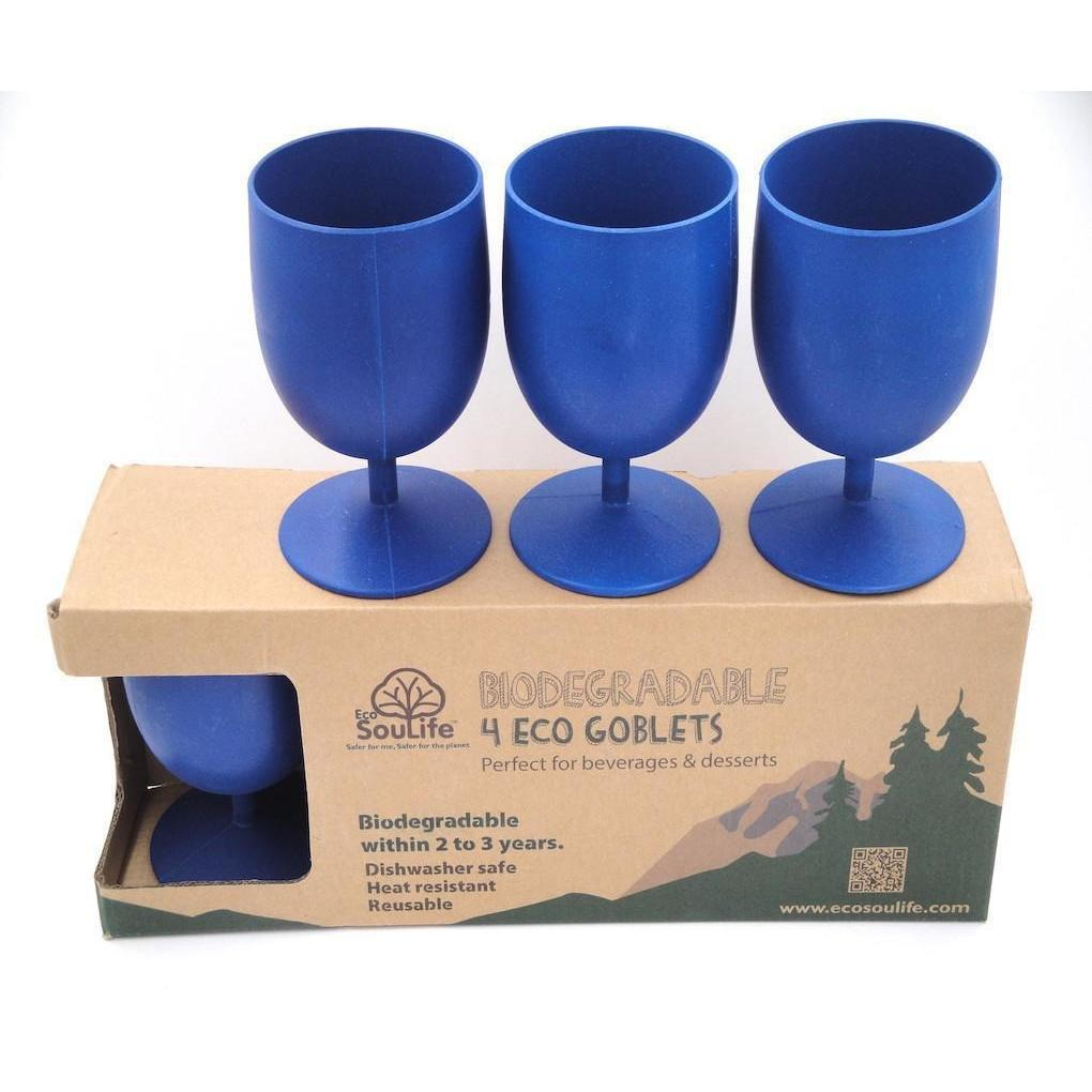Set of 4 Bamboo Goblets from EcoSoulLife in Sky Blu, with Packaging.