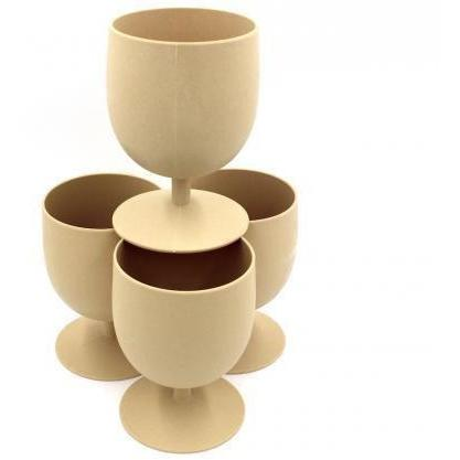 Set of 4 Bamboo Goblets from EcoSoulLife in Almond
