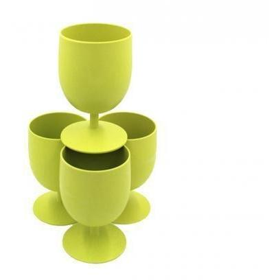 Set of 4 Bamboo Goblets from EcoSoulLife in Lime