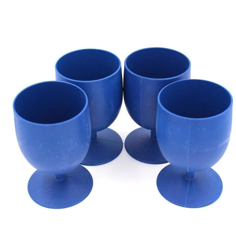 Set of 4 Bamboo Goblets from EcoSoulLife in Sky Blu, without Packaging.