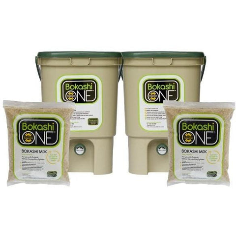 Bokashi Starter Kit Showing Two Tan/Green Buckets and Two Bags of Bran Mix