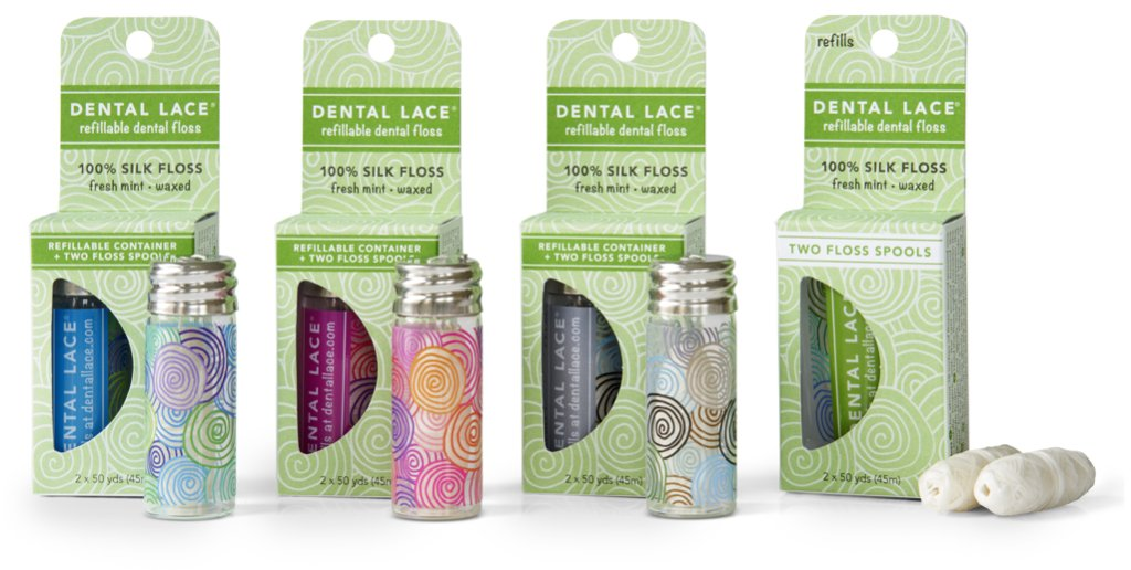 Dental Lace Refillable 100% Silk Floss in Three Canister Designs with Refill Spools and Packaging