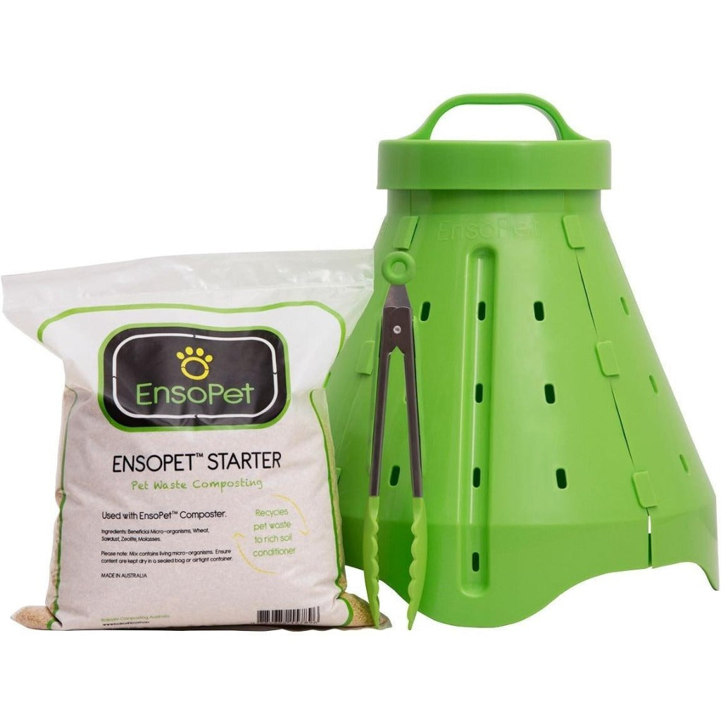 EnsoPet Pet Waste Composting System, Including Composting Unit, Starter and Tongs