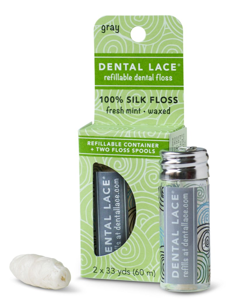 Dental Lace Refillable 100% Silk Floss in Granite with Refill Spool and Packaging