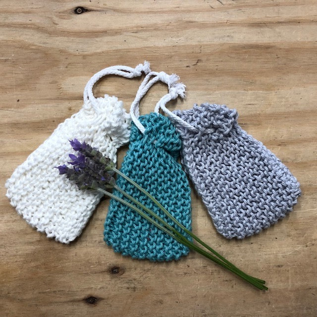 Knitted soap bag