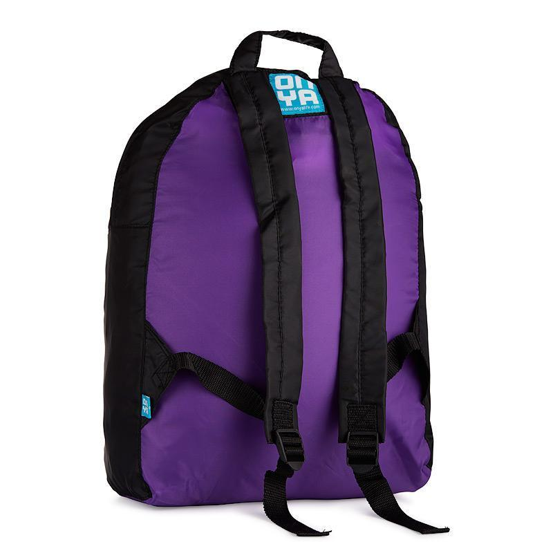 Onya Backpacks - Black & Purple / Garden (Back)
