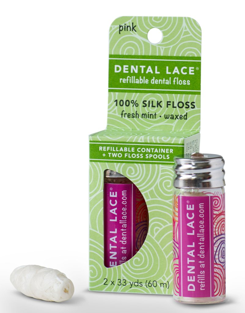 Dental Lace Refillable 100% Silk Floss in Sea Rose with Refill Spool and Packaging