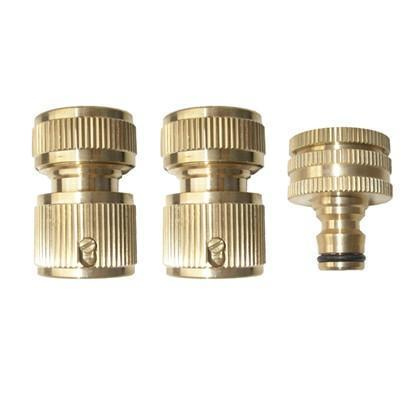 Ryset Ryset Brass 3 Piece Hose Fitting Kit 12mm Garden