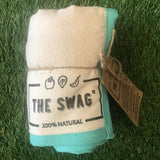 A Rolled Produce Storage Bag (Long) by The Swag, with Aqua Trim