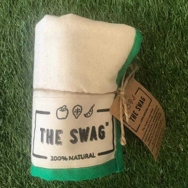 A Rolled Produce Storage Bag (Long) by The Swag, with Green Trim